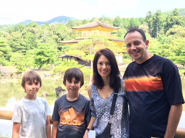 The Newman family in front of the Kinkaku-ji in Kyoto.
